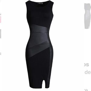 Never Worn Black Body Con with Faux Leather